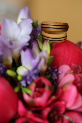 wooden, wedding ring, handmade, rings, arrangement, petals, petal, pink, plant, tulip