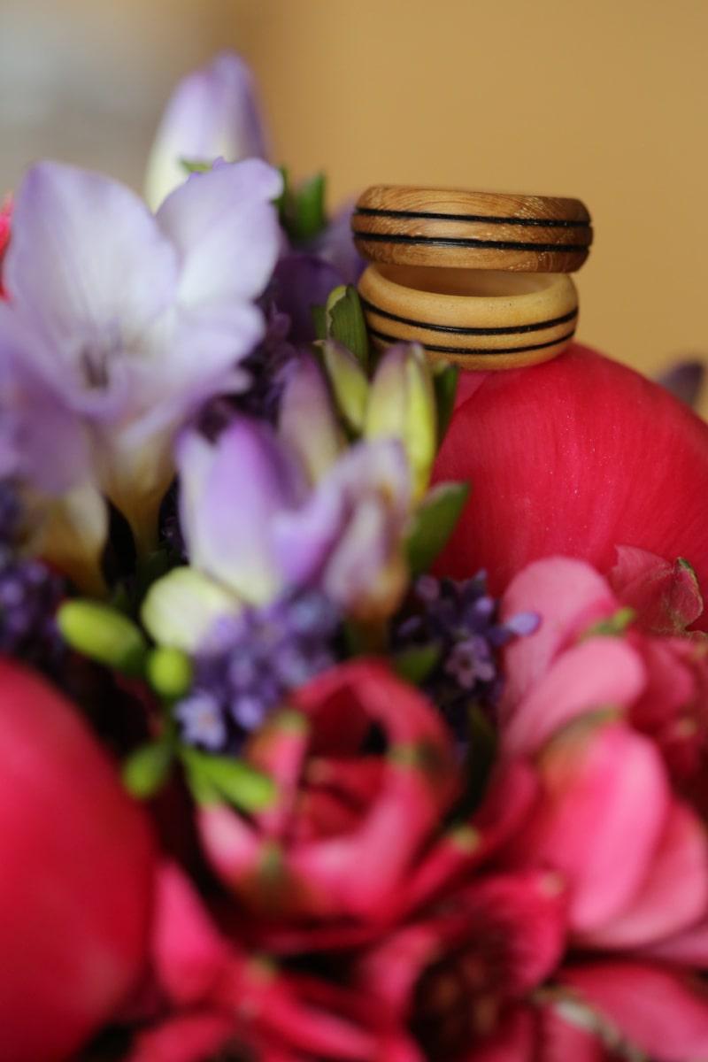 drevené, snubný prsteň, ručná práca, krúžky, usporiadanie, lístkov, lupienok, ružová, rastlín, tulipán