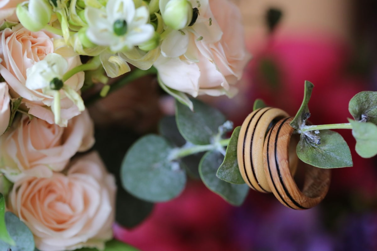 wooden, wedding ring, handmade, flowers, romantic, love, close-up, arrangement, plant, bouquet