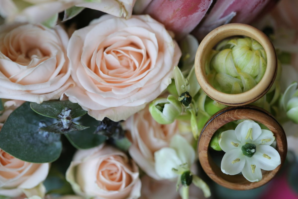 rings, wooden, gifts, handmade, wedding, decoration, love, bouquet, roses, rose