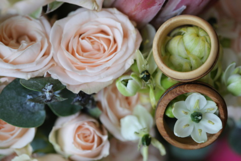 bouquet, wedding ring, wooden, handmade, roses, flower, arrangement, decoration, wedding, rose