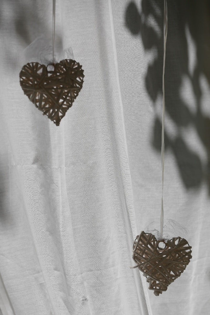 romance, hearts, Valentine's day, curtain, shadow, rope, handmade, hanging, love, wedding