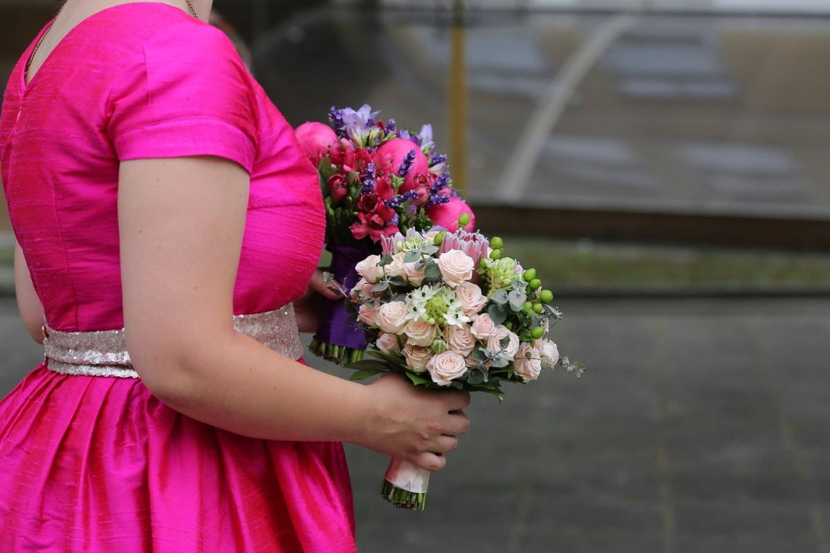 wedding bouquet, wedding dress, pink, fashion, bouquet, wedding, bride, arrangement, flower, decoration