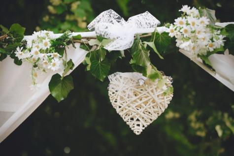 手作り, ロマンチックです, 心, 支店, シルク, ぶら下げ, 花, 低木, 春, 花