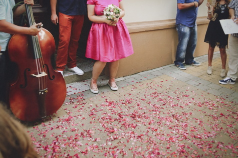ceremony, musician, music, wedding, petals, pavement, skirt, fashion, people, legs
