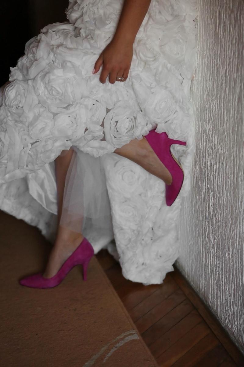 wedding dress, sandal, shoes, posing, girl, wedding, woman, portrait, people, bride