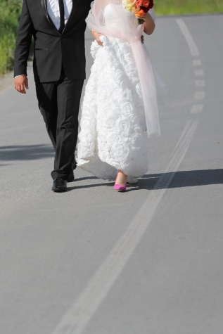 suit, wedding dress, wife, road, husband, lifestyle, traffic, walking, together, life