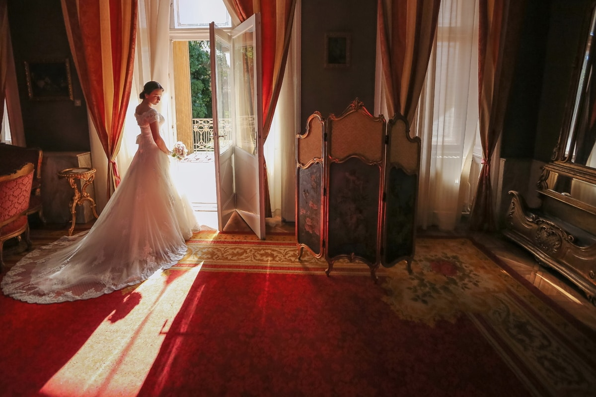 salón, svadobné šaty, Boutique, barokový, romantické, ľudia, svadba, ženích, nevesta, Izba