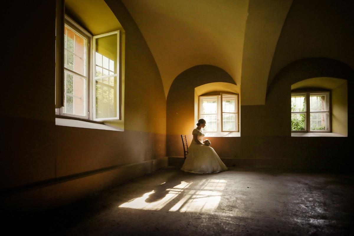 Fenster, allein, Braut, leere, Stuhl, Zimmer, Architektur, drinnen, Haus, Licht