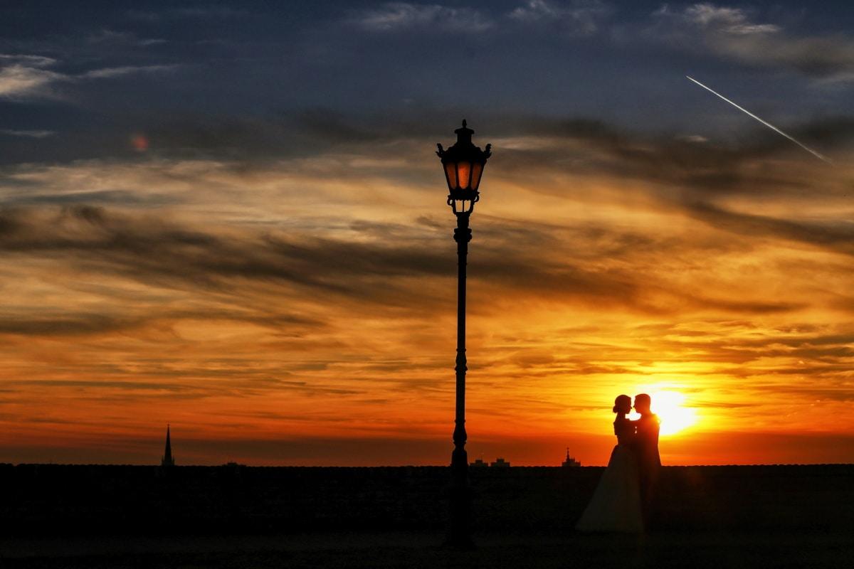petite amie, amour, petit ami, romantique, couple, coucher de soleil, équipement, appareil, soleil, silhouette