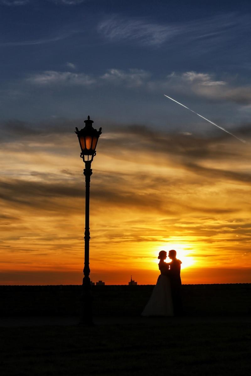 amour, romantique, taches solaires, coucher de soleil, petite amie, lampe, petit ami, silhouette, soleil, lever du soleil