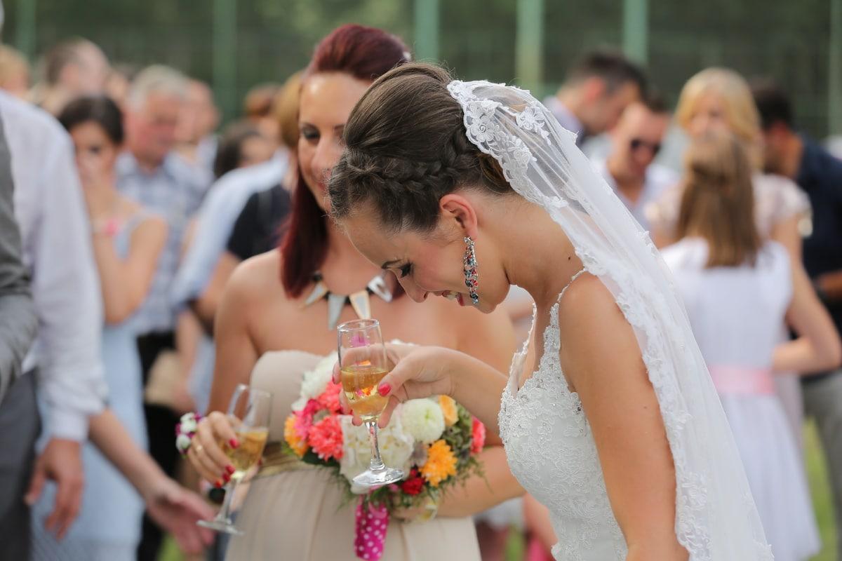 la mariée, cérémonie, Champagne, célébration, boisson, mariage, marié, femme, robe, amour