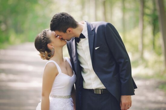 embrace, kiss, lady, love, hugging, man, affection, happiness, bride, groom