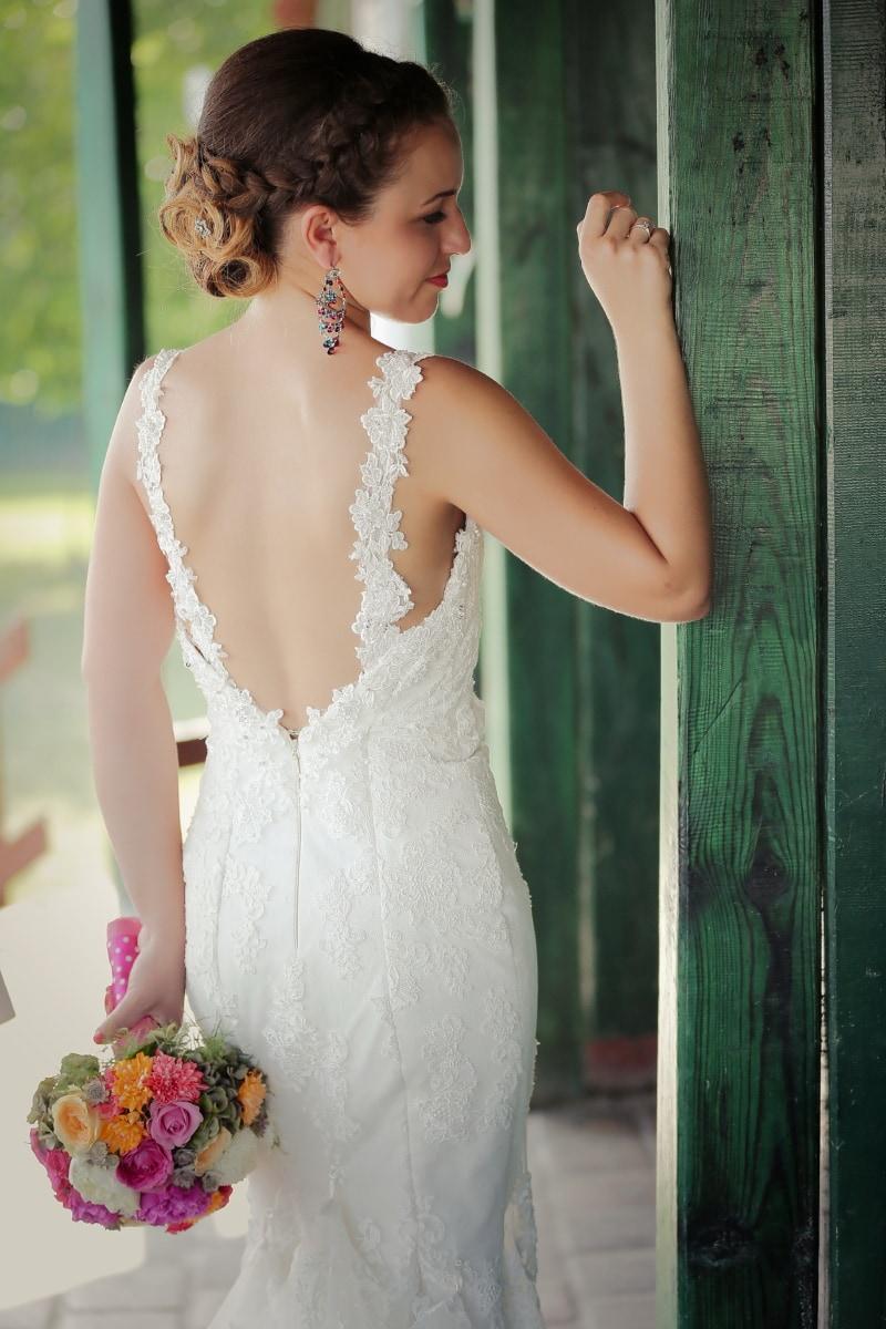 wedding, wedding dress, bride, dress, earrings, hairstyle, princess, girl, woman, fashion