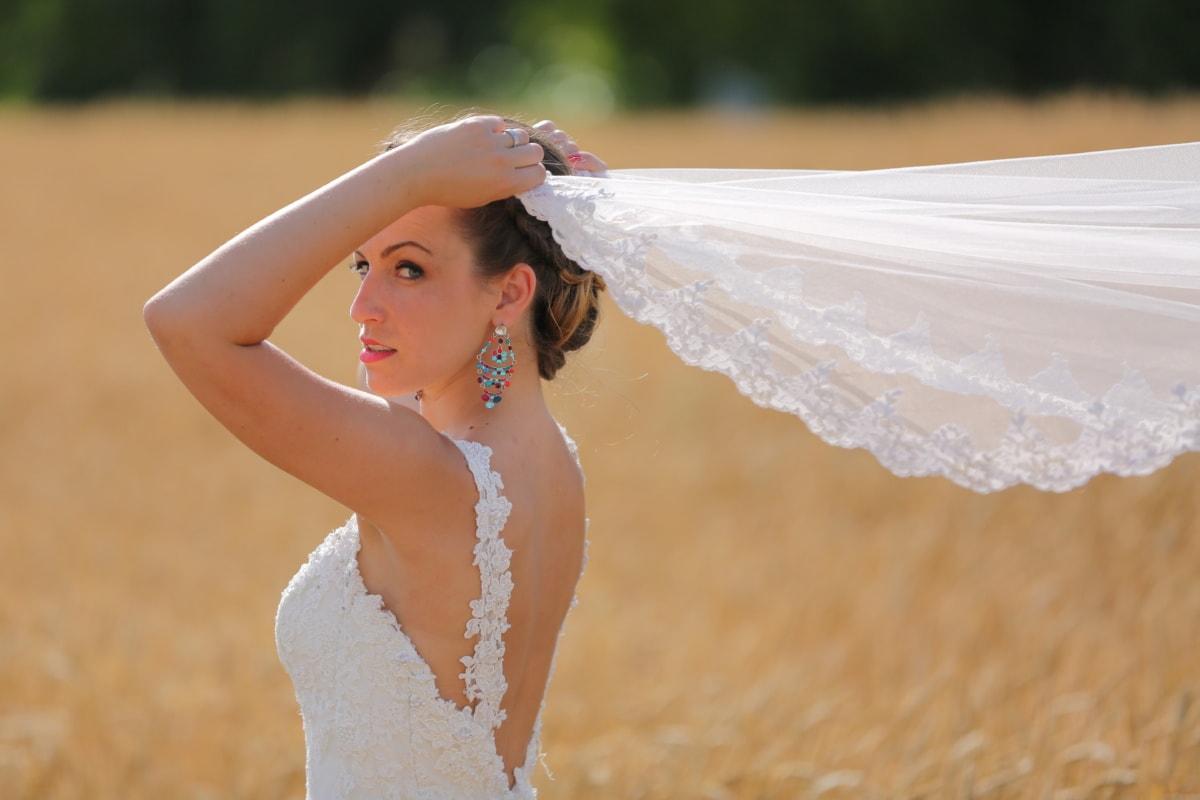 งดงาม, สาวสวย, เจ้าสาว, ผู้หญิง, กำลัง, ม่าน, ไหล่, ชุดแต่งงาน, แขน, ร่าเริง