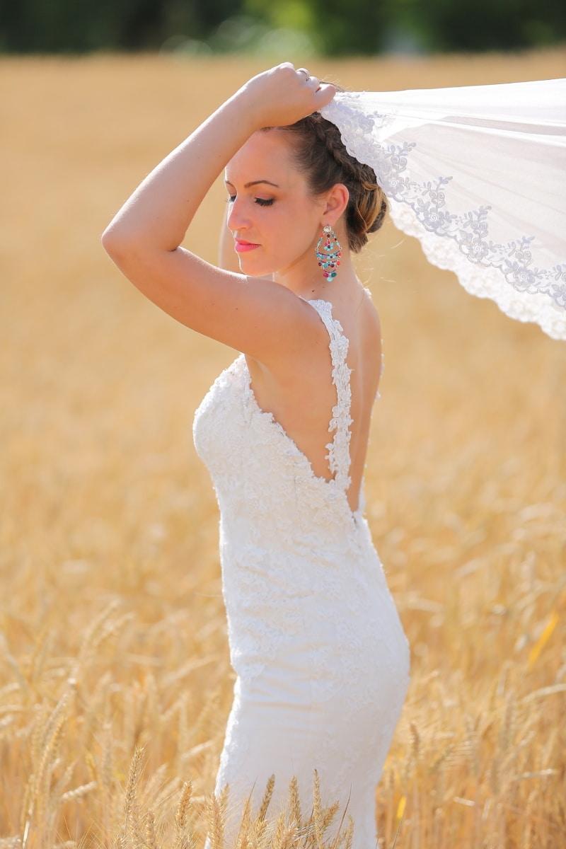 wheatfield, 신부, 베일, 웨딩 드레스, 헤어스타일, 사진 모델, 귀걸이, 젊은 여자, 드레스, 패션