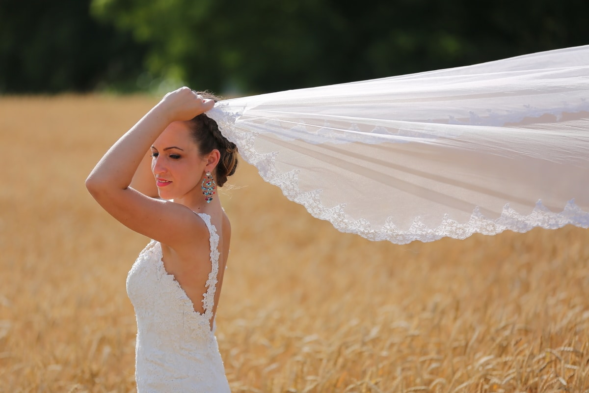 wedding dress, veil, wheatfield, gorgeous, jewelry, makeup, woman, girl, groom, wedding
