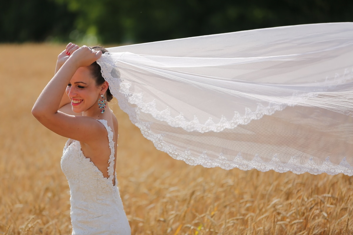 wedding dress, veil, happiness, bride, smile, face, portrait, parasol, woman, marriage