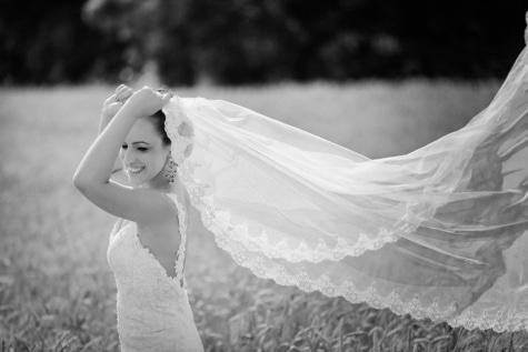 magnifique, joli, la mariée, voile, monochrome, Portrait, robe, mariage, amour, marié