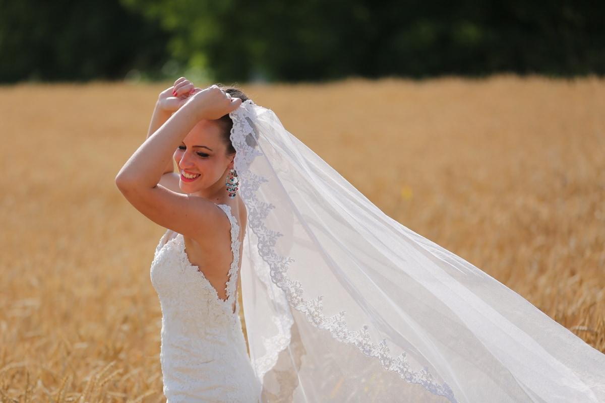 wind, wedding dress, happiness, wheatfield, bride, walking, wedding, dress, portrait, saint