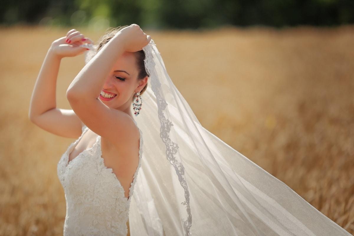 Feld, Braut, Schleier, Hochzeitskleid, heiter, Heilige, Porträt, Kleid, Hochzeit, überlegen