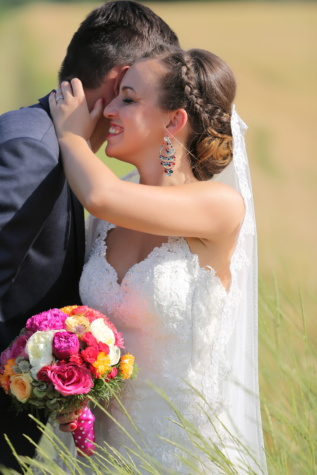 smile, bride, enjoyment, marriage, love, happiness, groom, married, bouquet, dress