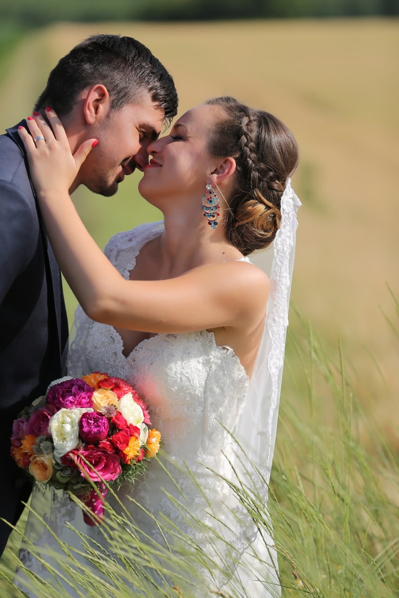 wheatfield, bride, groom, kiss, smile, love, hand, shoulder, couple, wedding