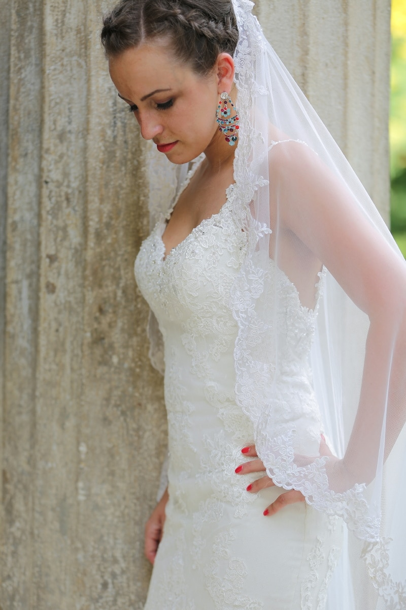 pretty, bride, wedding dress, earrings, side view, veil, dress, woman, fashion, wedding