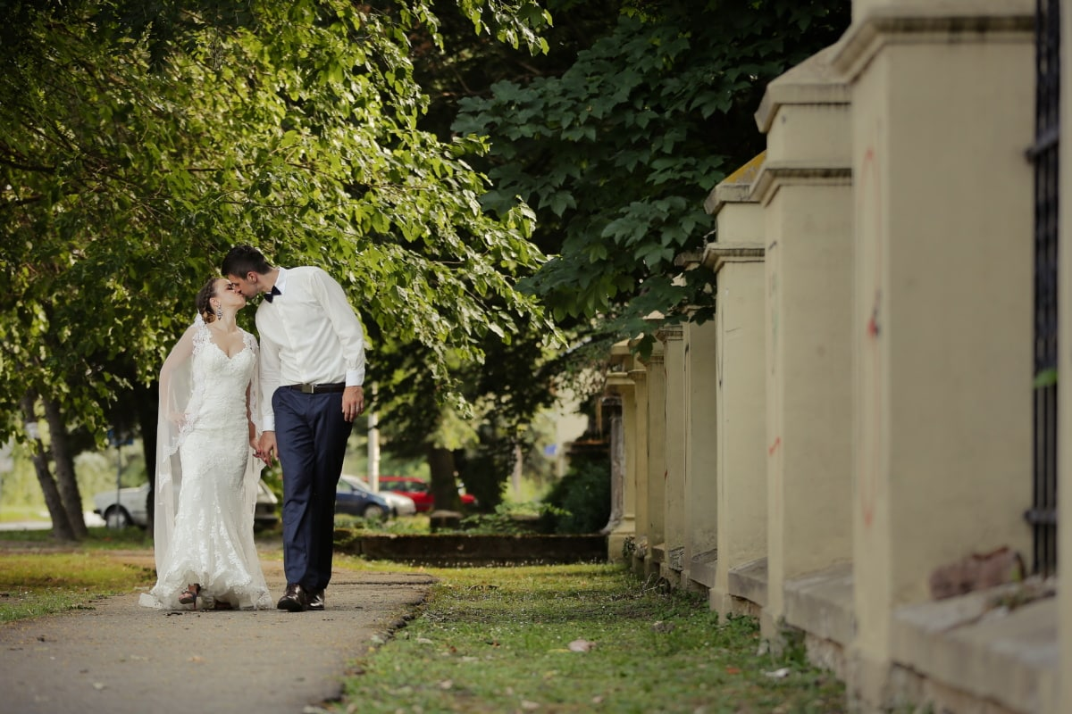 kiss, bride, husband, street, pavement, fence, suit, wedding dress, wedding, tree