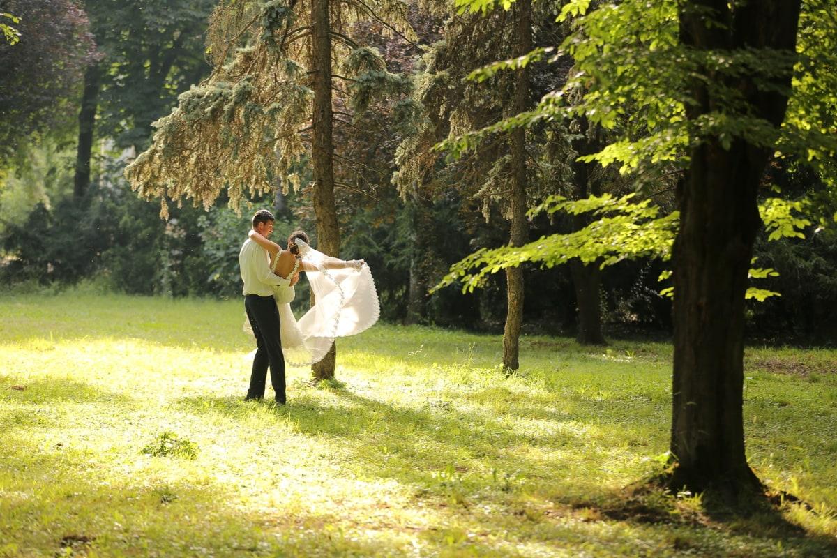 Holding, homme, femme, robe de mariée, forêt, ensoleillement, arbre, parc, arbres, à l'extérieur