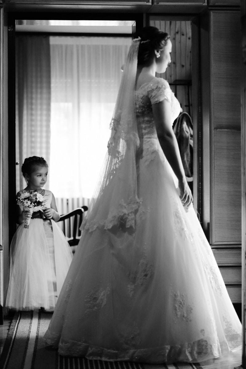 wedding dress, wedding, child, childhood, maternity, motherhood, bride, people, love, couple