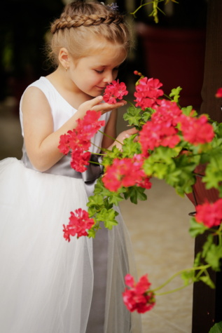 girl, pretty, child, nose, fragrance, adorable, innocence, dress, hairstyle, flowers