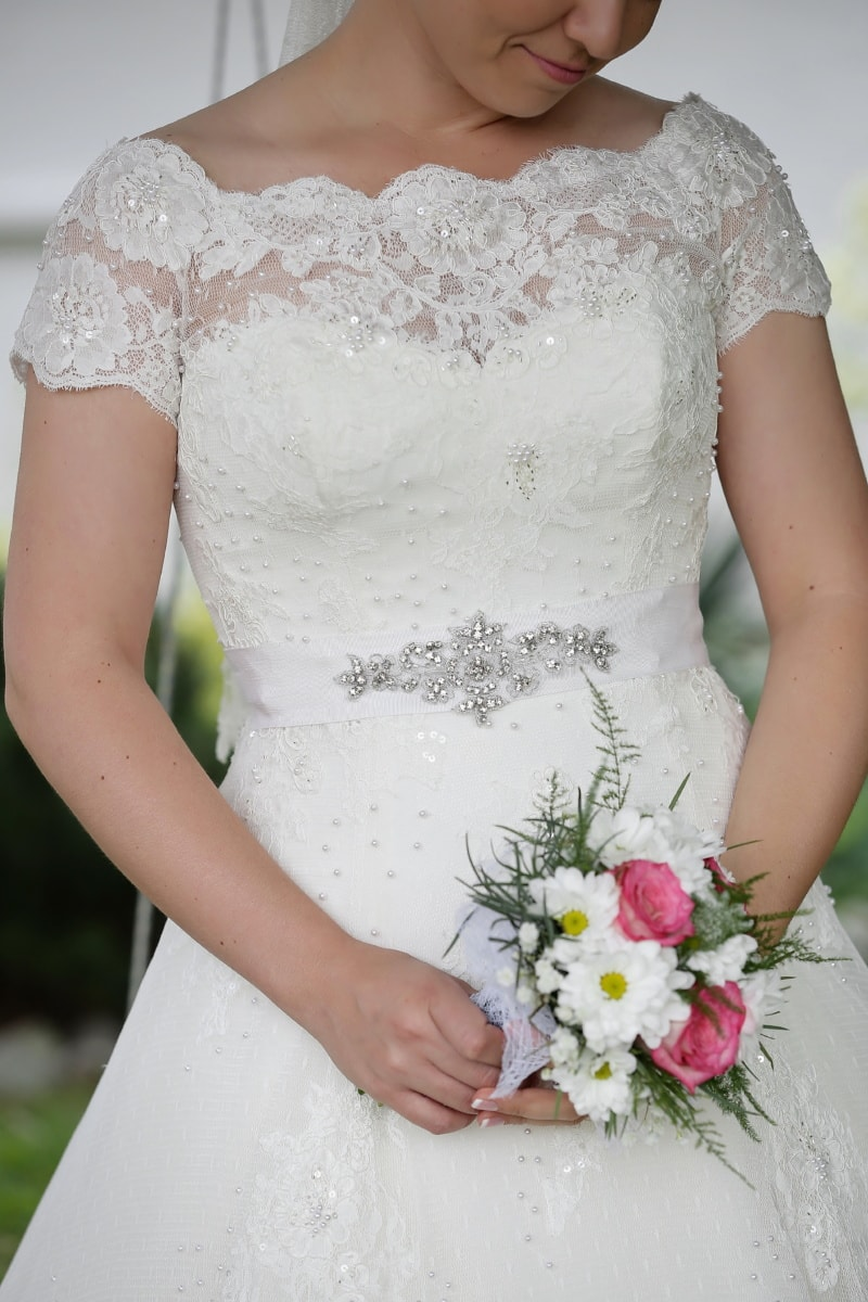 wedding dress, fashion, salon, photo model, smile, bride, love, wedding, bouquet, engagement
