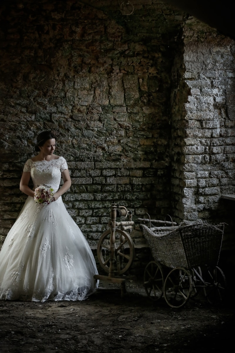 young woman, marriage, wedding dress, basement, abandoned, ruin, decay, groom, love, dress