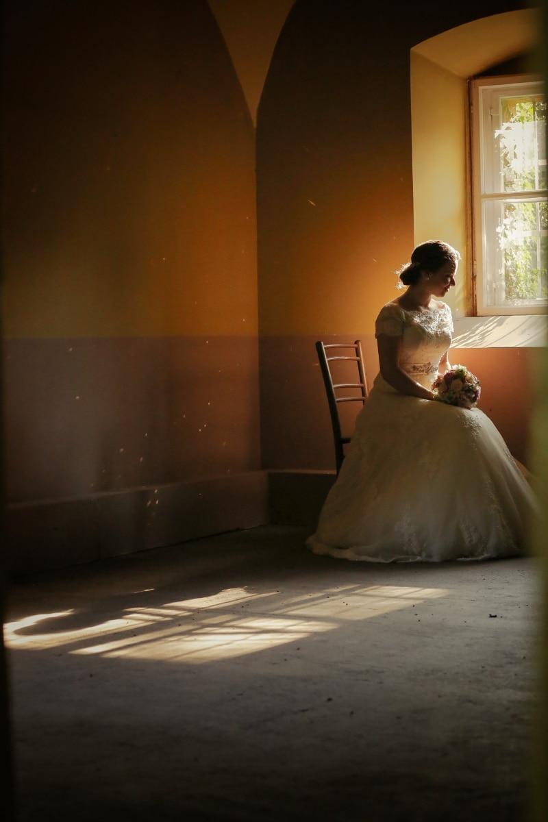 nostalgie, robe de mariée, la mariée, rayons de soleil, fenêtre, mariage, mariage, femme, robe, amour