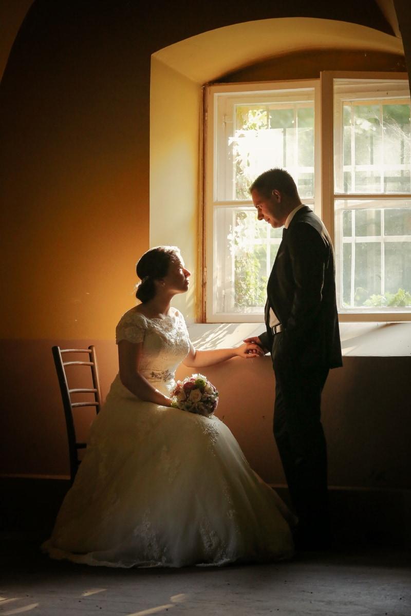 groom, chair, sitting, bride, window, dress, bouquet, love, wedding, couple