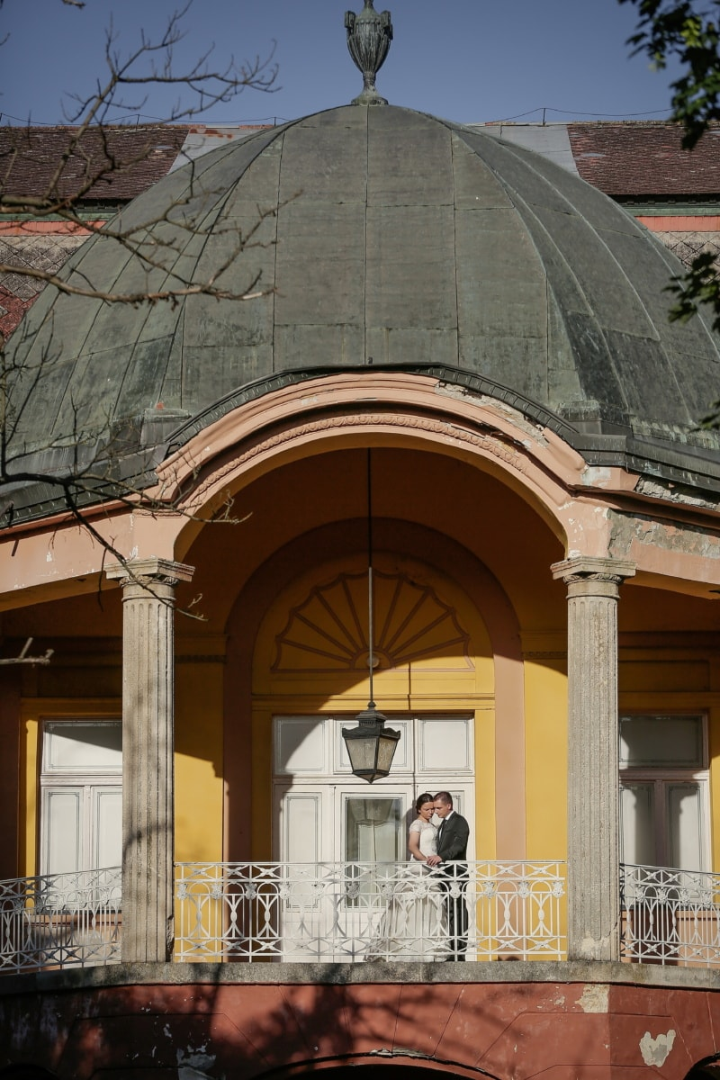 Balkon, Veranda, Mann, Romantik, hübsches mädchen, Barock, Schloss, Erstellen von, Kirche, Dach