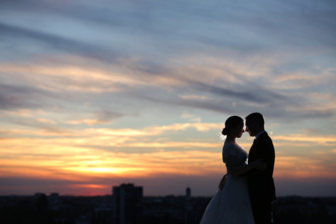 bruden, solnedgang, brudgom, kys, Panorama, bybilledet, daggry, skumring, Kærlighed, romanssi