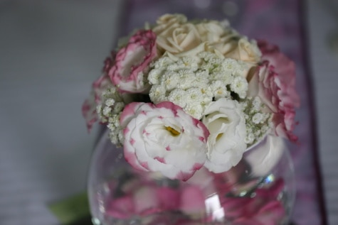 vase, crystal, round, white flower, elegance, decoration, arrangement, rose, romance, flower