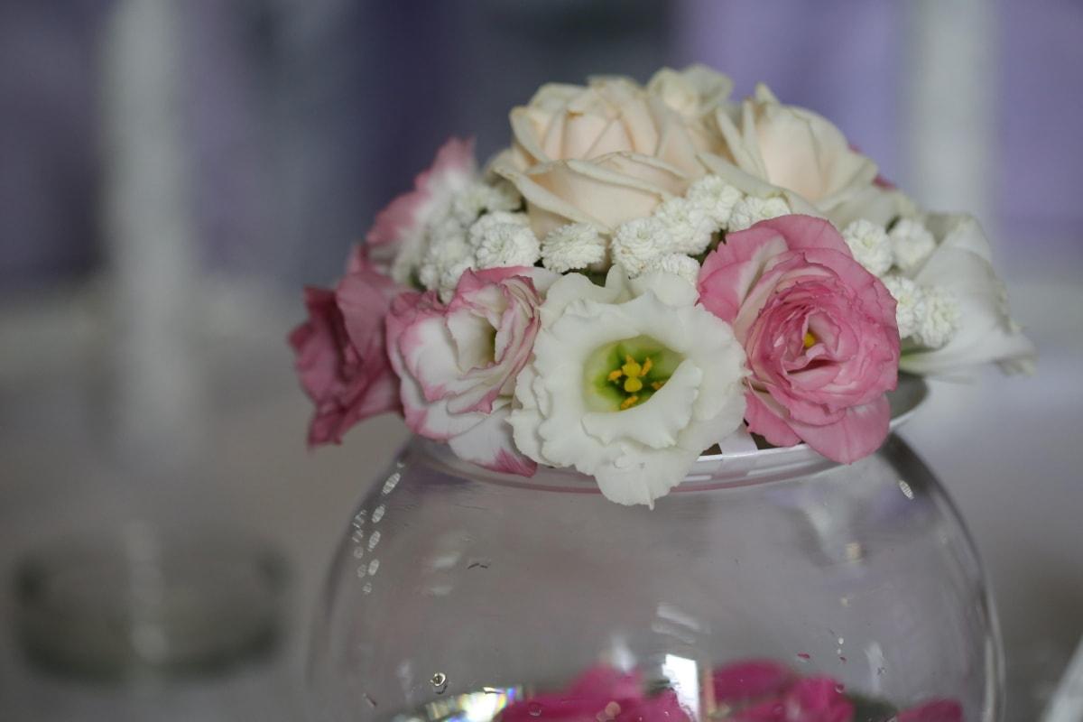 Glas, Eleganz, Kristall, Schüssel, Blumenstrauß, weiße Blume, Rosen, Blumen, Dekoration, Anordnung