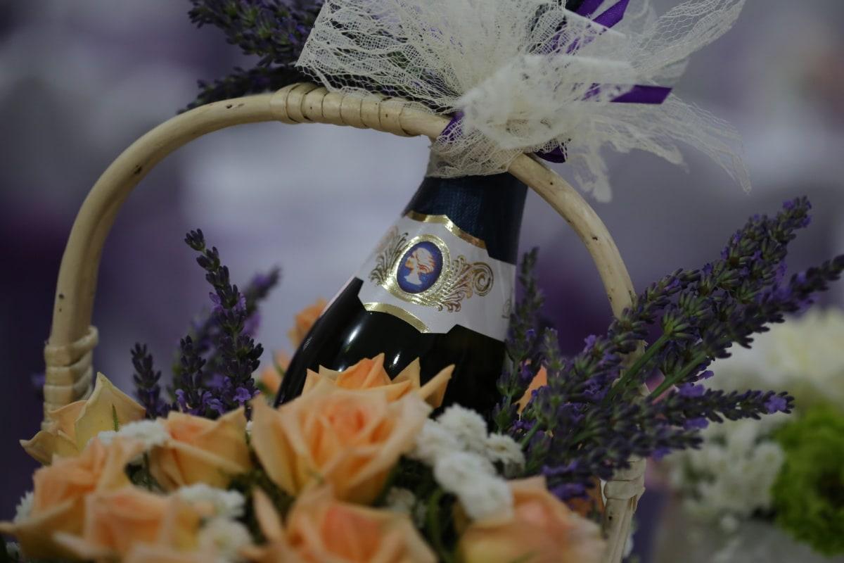 Rotwein, Flasche, Lavendel, Rosen, Weidenkorb, Blume, Anordnung, Dekoration, Natur, Blumenstrauß