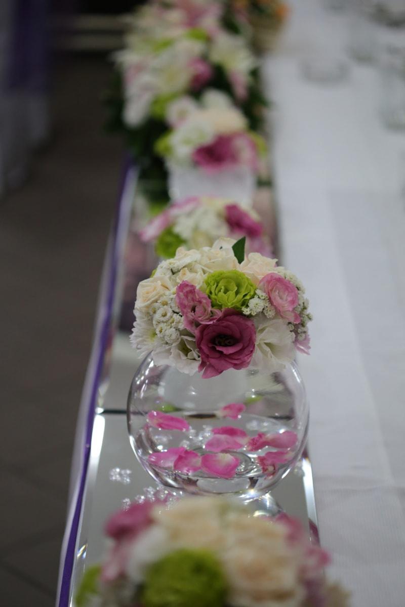 Dekoration, Vase, Kristall, Schüssel, Essbereich, Blumenstrauß, Blume, Braut, Empfang, elegant