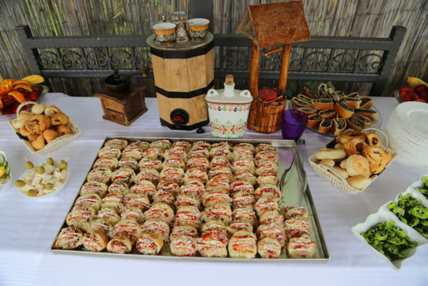 baked goods, handmade, seafood, buffet, village, table, tableware, tablecloth, food, meal