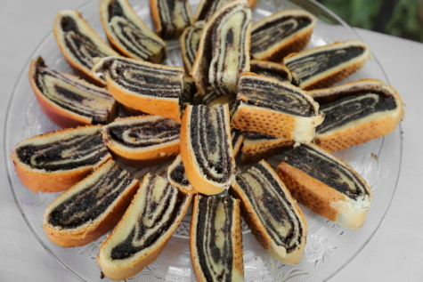 cookies, dessert, handmade, table, glass, tablecloth, black and white, delicious, traditional, food