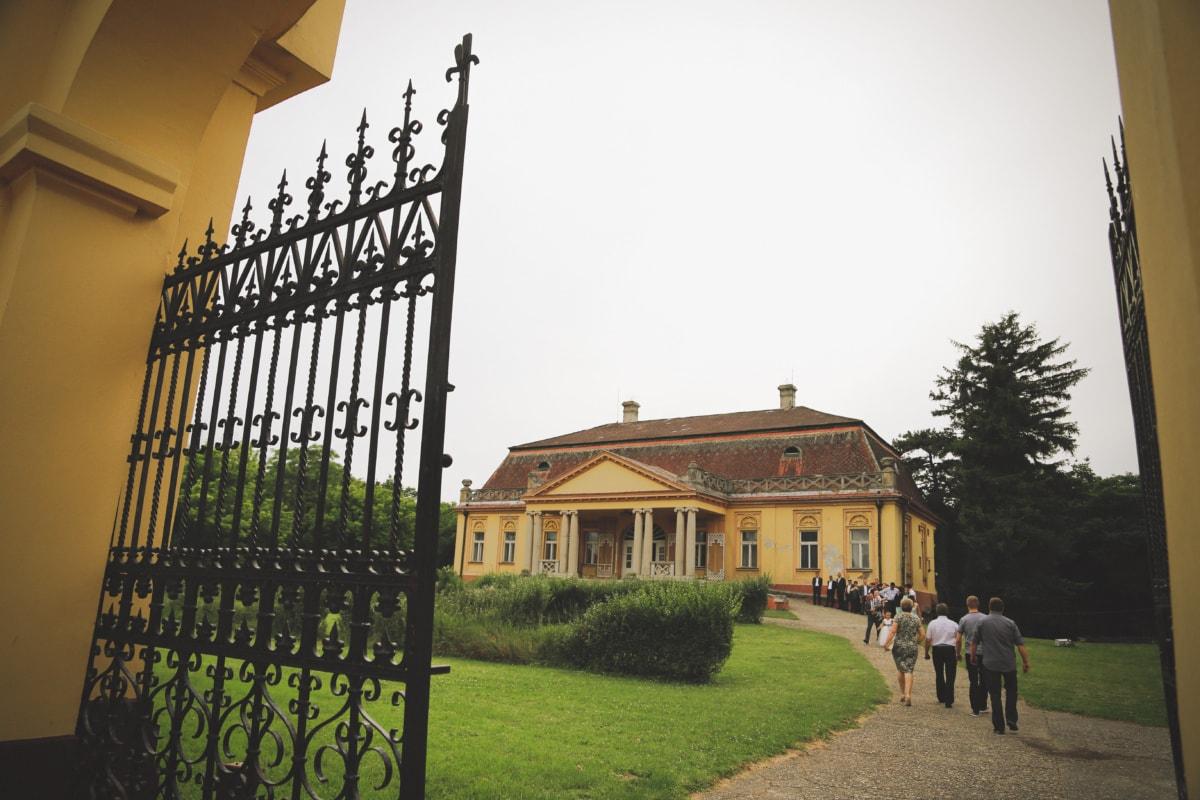 entrée, porte d'entrée, Château, fer de fonte, Porte, foule, gens, architecture, Création de, maison