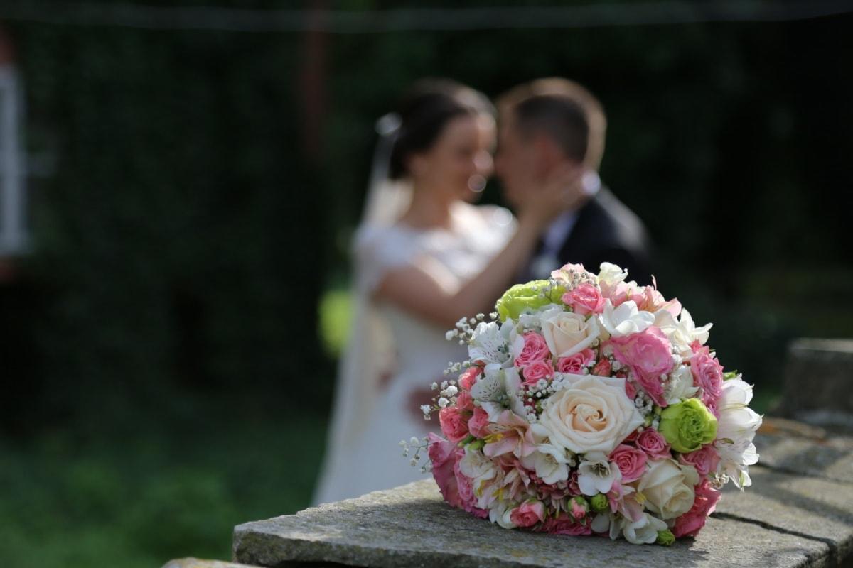 love, romantic, bride, wedding bouquet, hug, bouquet, dress, couple, marriage, groom