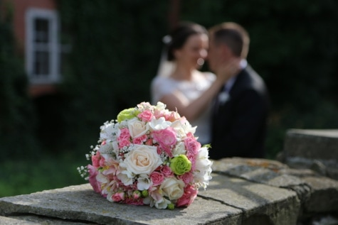 marriage, wedding bouquet, bouquet, groom, married, wedding, bride, love, dress, flowers
