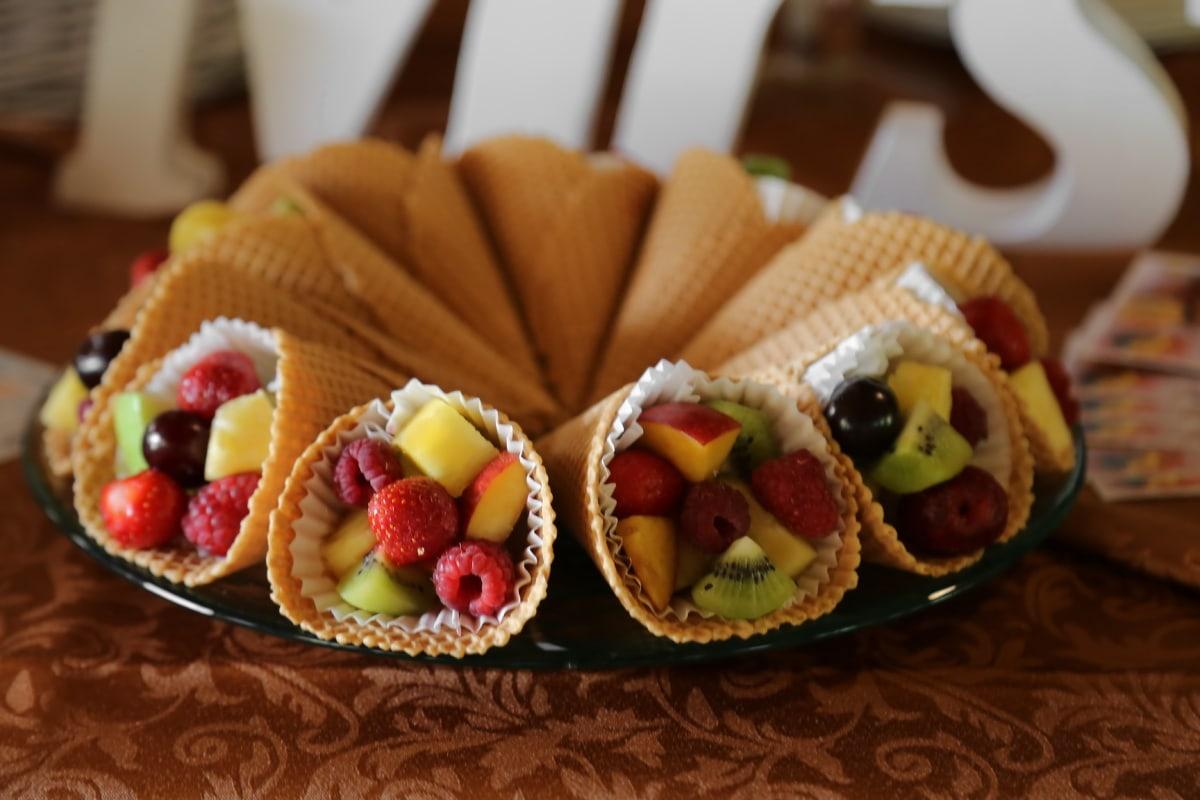 ice cream, fruit, kiwi, raspberries, salad, cherries, apples, delicious, meal, food