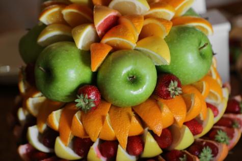 Obst, Salat-bar, Anordnung, Ernährung, Kiwi, Banane, Apfel, Vitamin, Essen, Orange