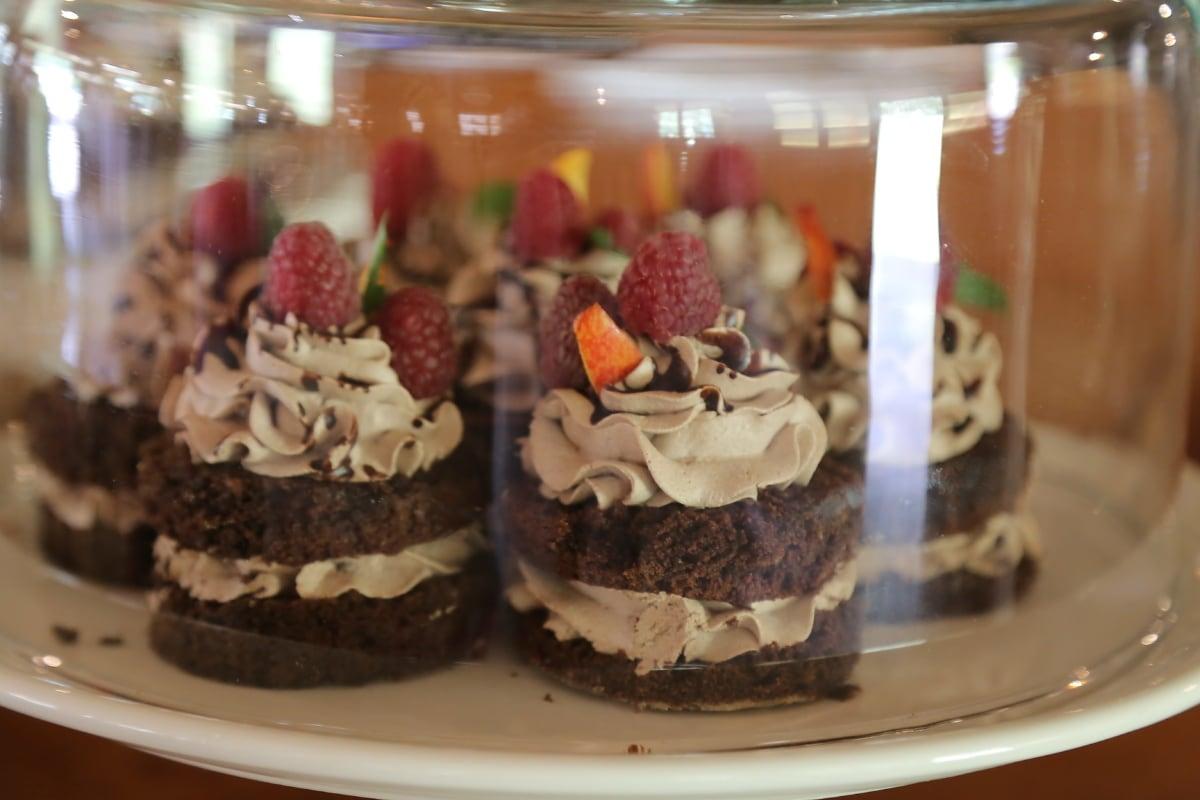 dessert, raspberries, cupcake, cream, delicious, course, food, fruit, pudding, cake